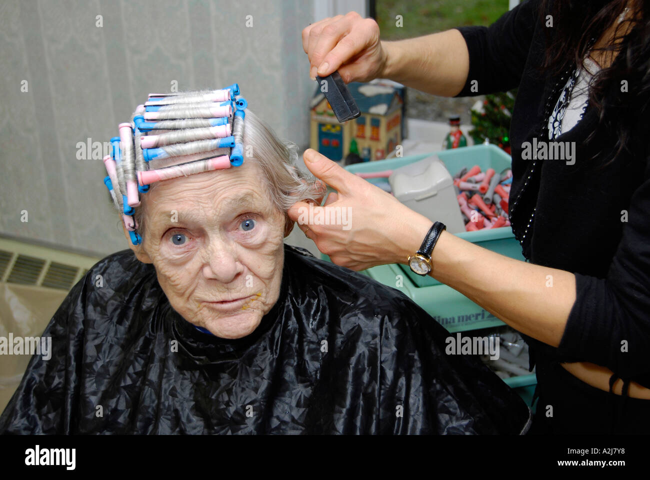 Senior Elderly Woman Has Hair Cut Shampoo Color And