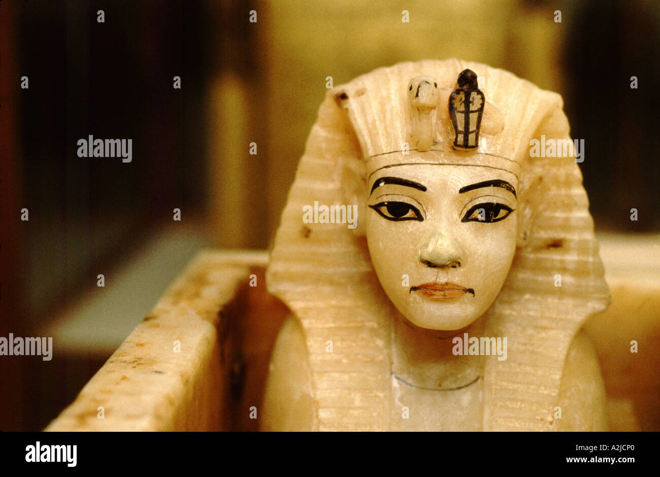 Africa, Egypt, Cairo, Egyptian Antiquities Museum, Tutankhamen collection, Alabaster Tut tops canopic jars - Stock Image