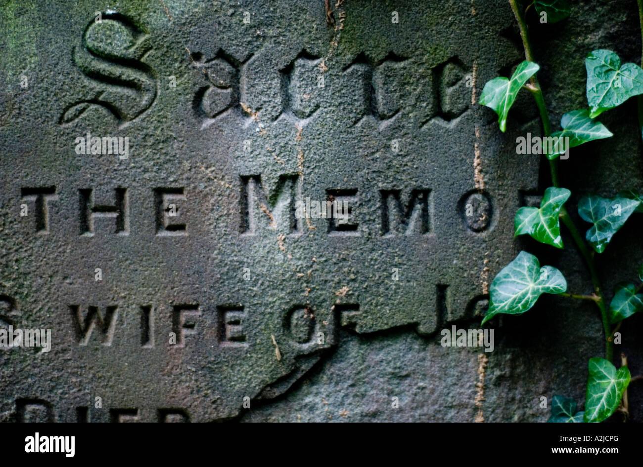 Batheaston Bath  BANES England UK Detail of old gravestone - Stock Image