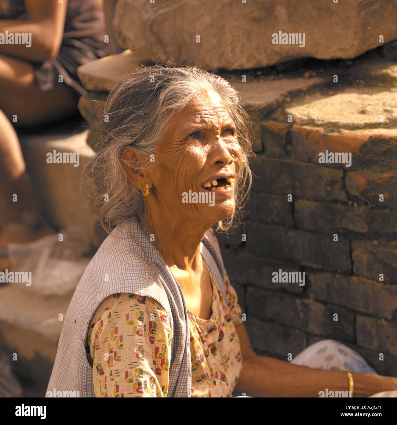 woman age 50+ begging in India. Stock Photo