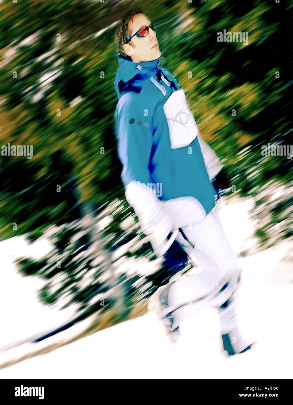 Editorial Photography of a male/female age 25 wearing ski/snowboarding clothing. - Stock Image
