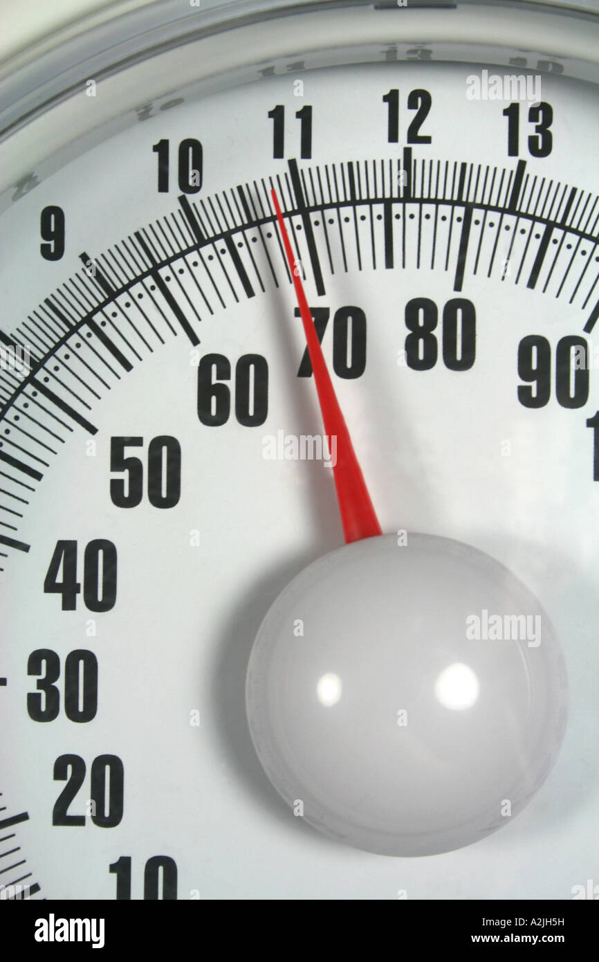 dial of bathroom scales indicating weight - Stock Image