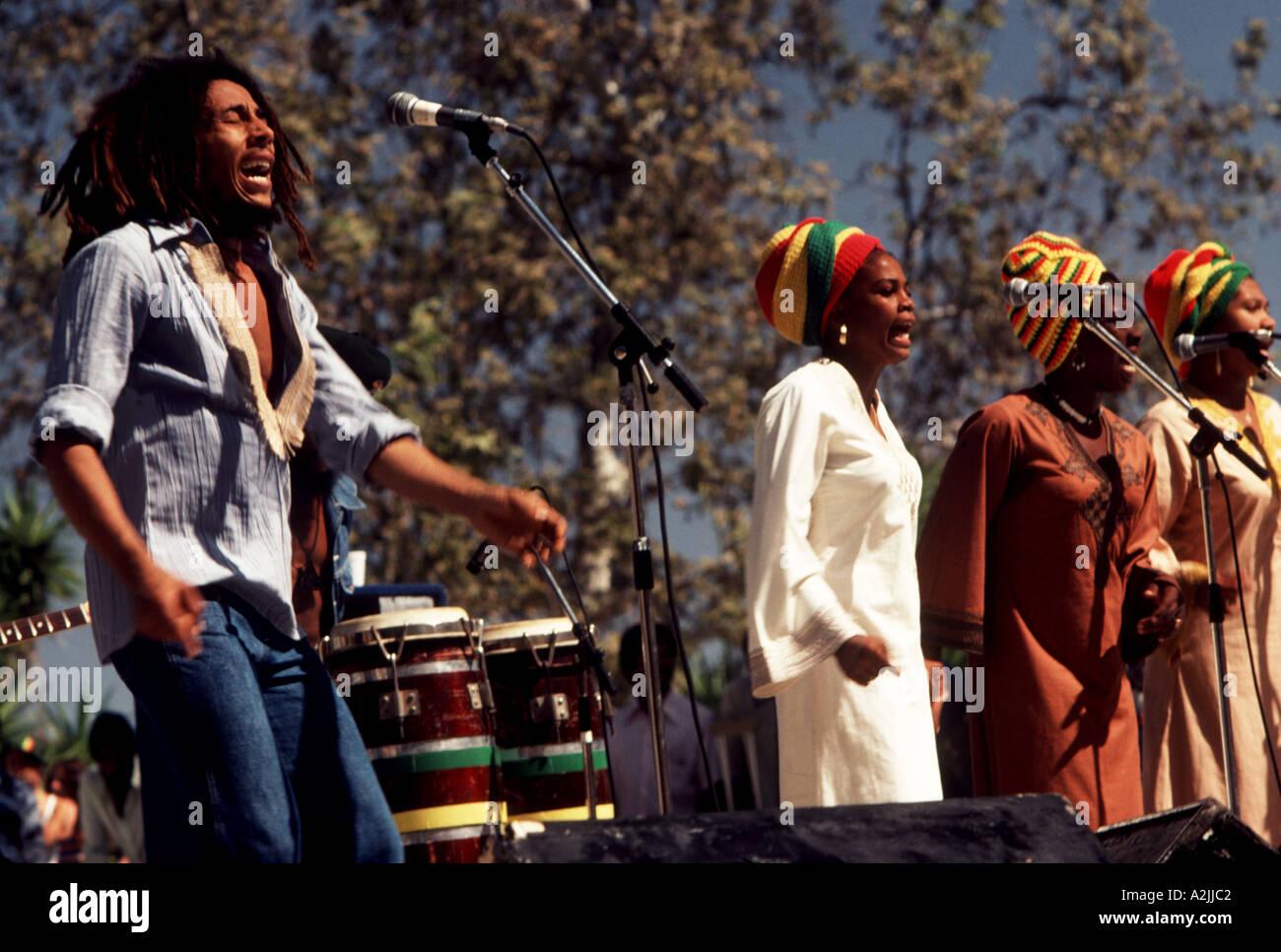 BOB MARLEY AND THE WAILERS Jamaican reggae musician with The Wailers - Stock Image