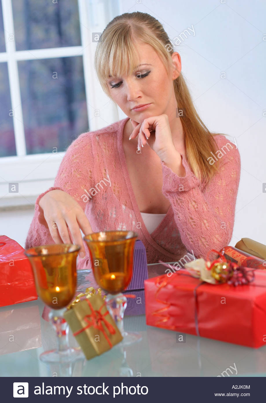 woman with gift - Stock Image