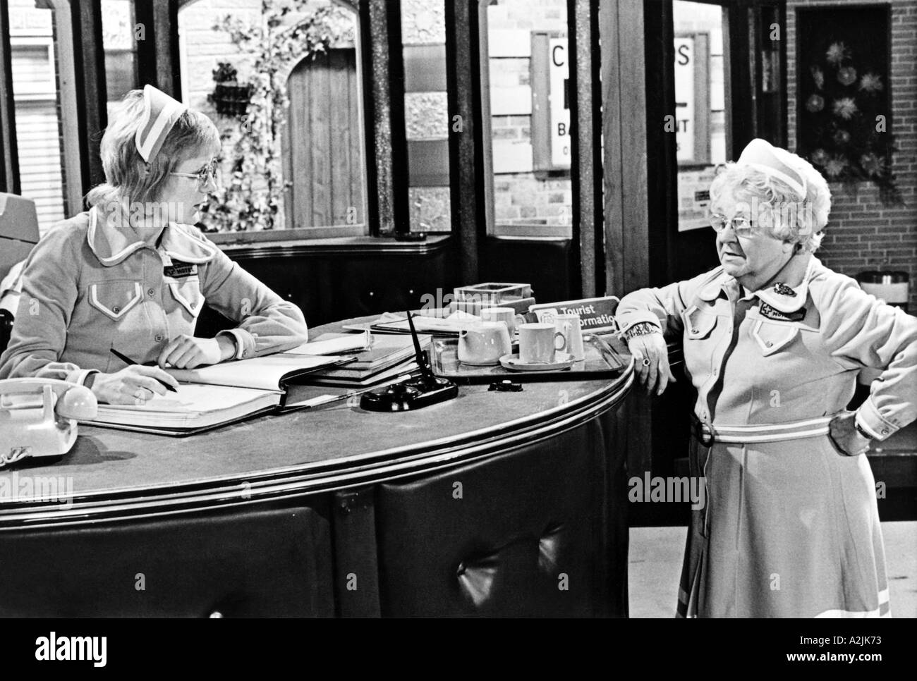 CROSSROADS UK TV series 1964 88 with left Sally Adcock as Jane Smith and Ann George as Amy Turtle - Stock Image