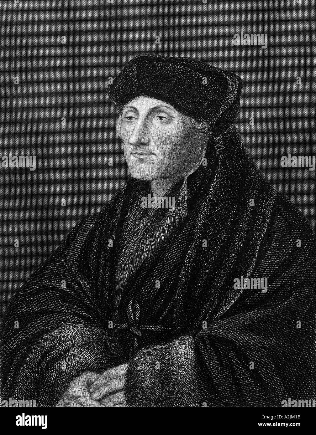 DESIDERIUS ERASMUS Dutch humanist and scholar c1466 to 1536 - Stock Image