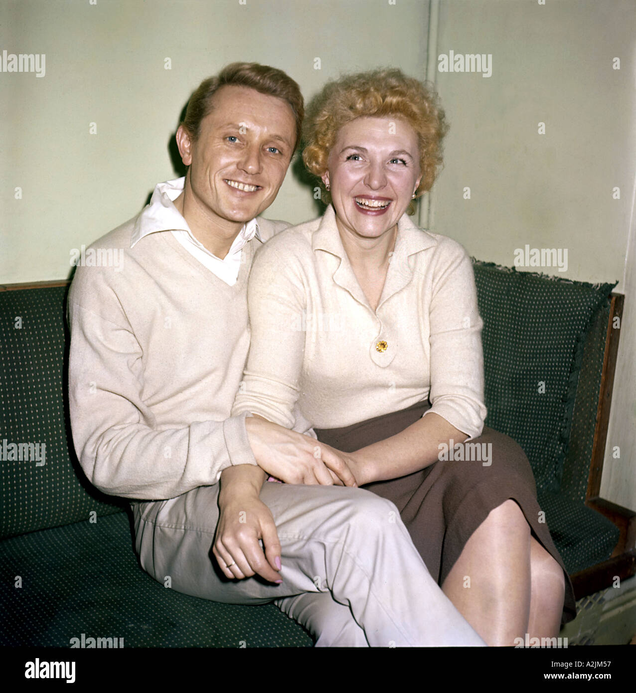 GARY MILLER Uk pop singer 1924 1968 here with his wife - Stock Image
