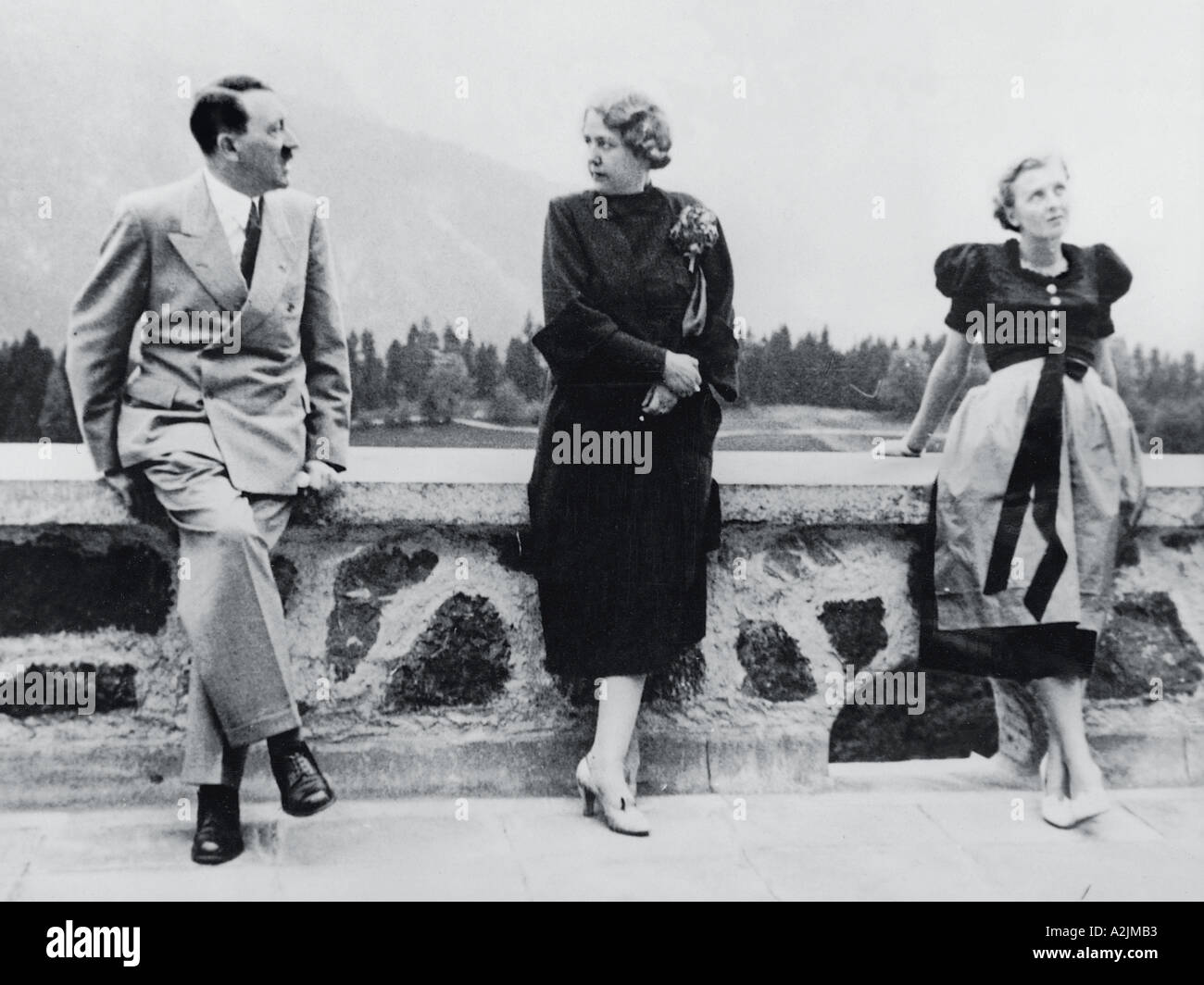 ADOLF HITLER at his Berghof  home with Eva Braun right and Hannelore Morell wife of his personal doctor Stock Photo