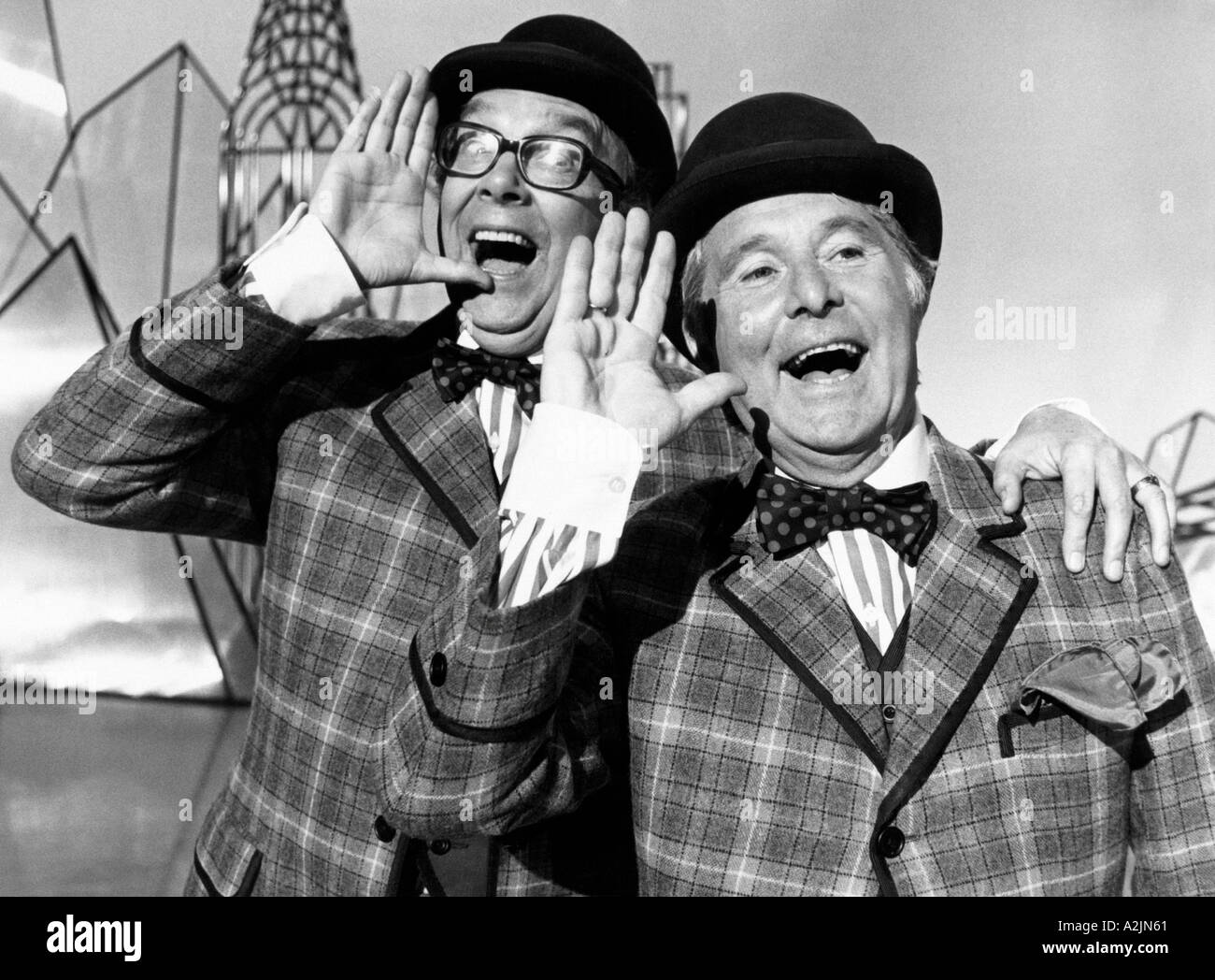 British comedians Eric Morecambe left and Ernie Wise - Stock Image