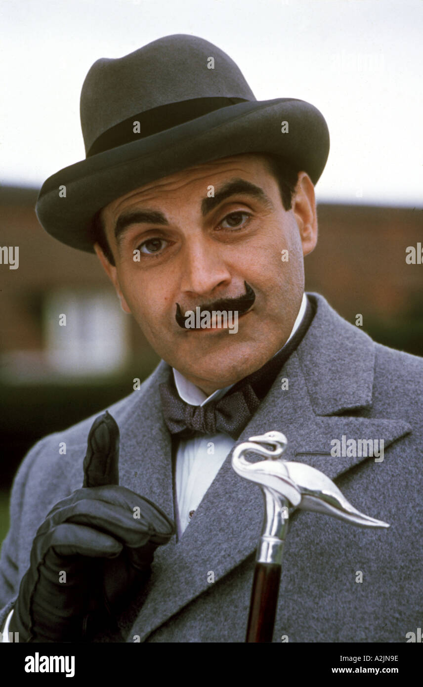 POIROT David Suchet as the Agatha Christie detective in the UK TV series - Stock Image