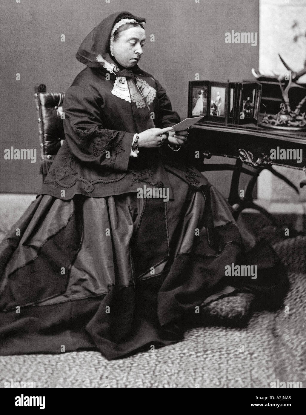 QUEEN VICTORIA in 1867 wearing mourning clothes - Stock Image