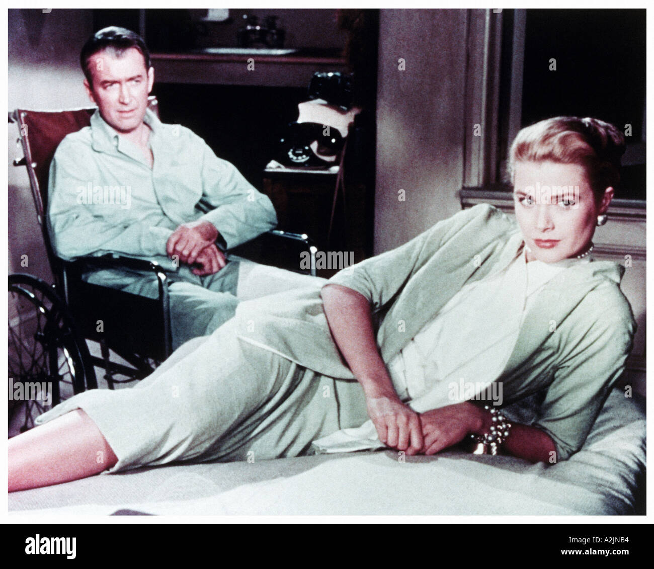 REAR WINDOW 1954 film with James Stewart and Grace Kelly directed by Alfred Hitchcock - Stock Image