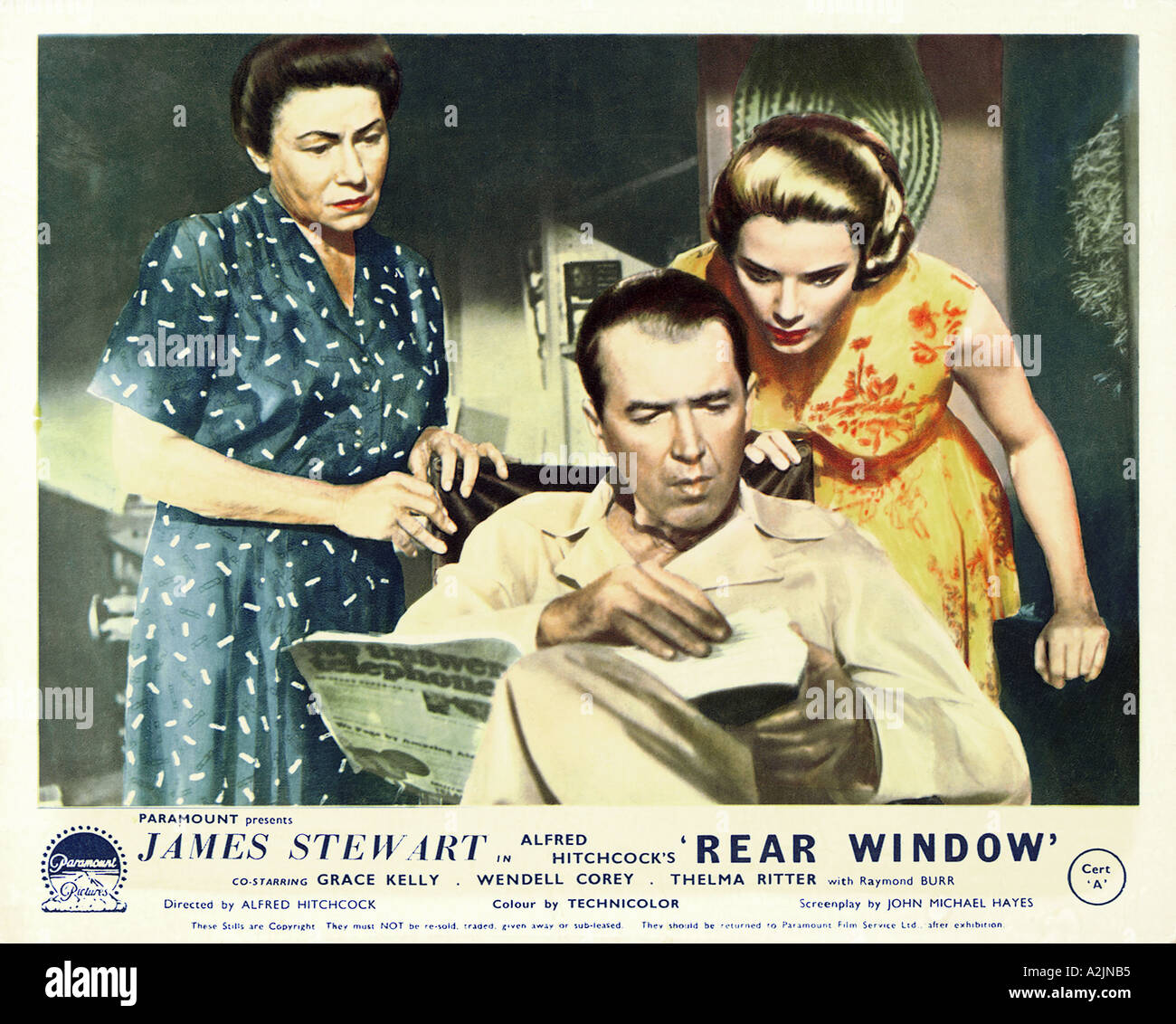 REAR WINDOW 1954 film with from l Thelma Ritter James Stewart Grace Kelly directd by Alfred Hitchcock - Stock Image