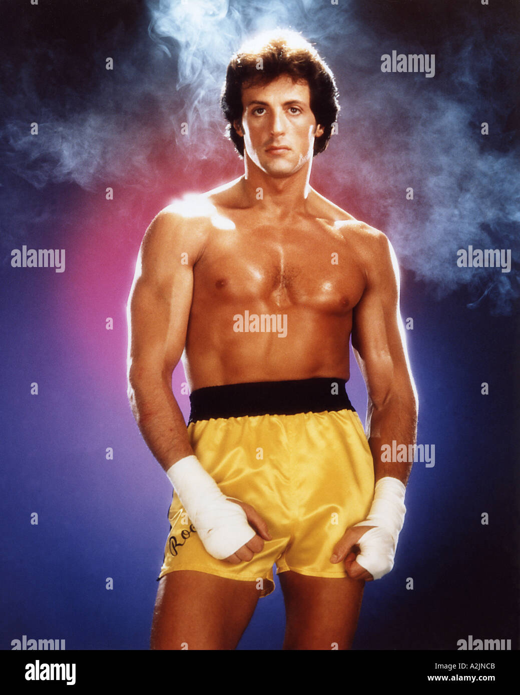 ROCKY III 1982 film starring Sylvester Stallone as Rocky Balboa - Stock Image