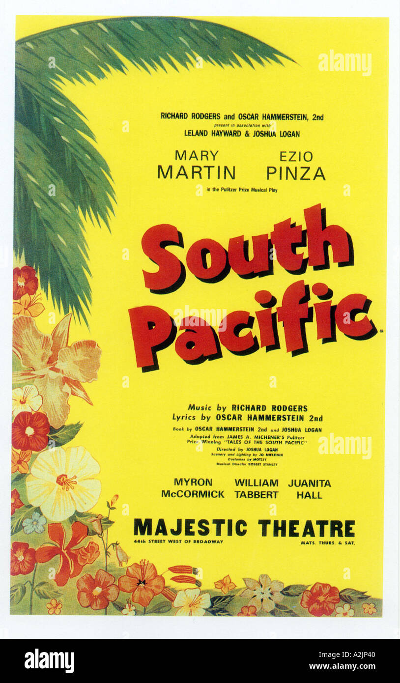 SOUTH PACIFIC Poster for the original New York stage production - Stock Image