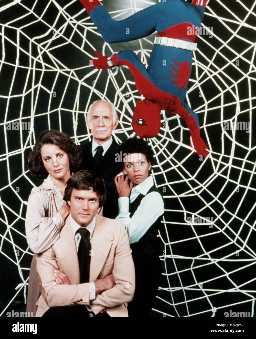 SPIDERMAN 1970s US TV programme starring Nicholas Hammond bottom as Peter Parker Spiderman - Stock Image