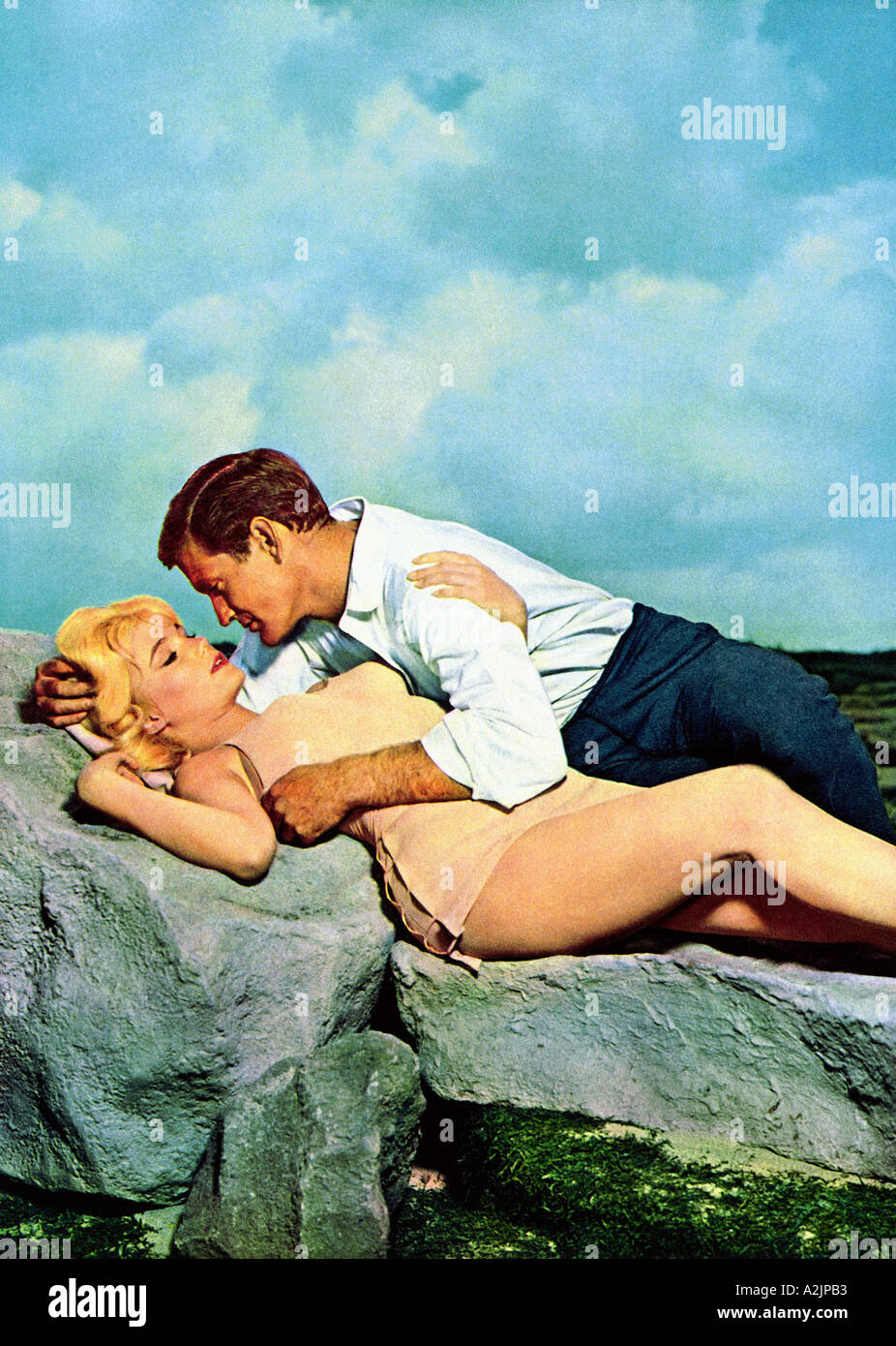 TIME MACHINE Rod Taylor and Yvette Mimieux in the 1960 film - Stock Image