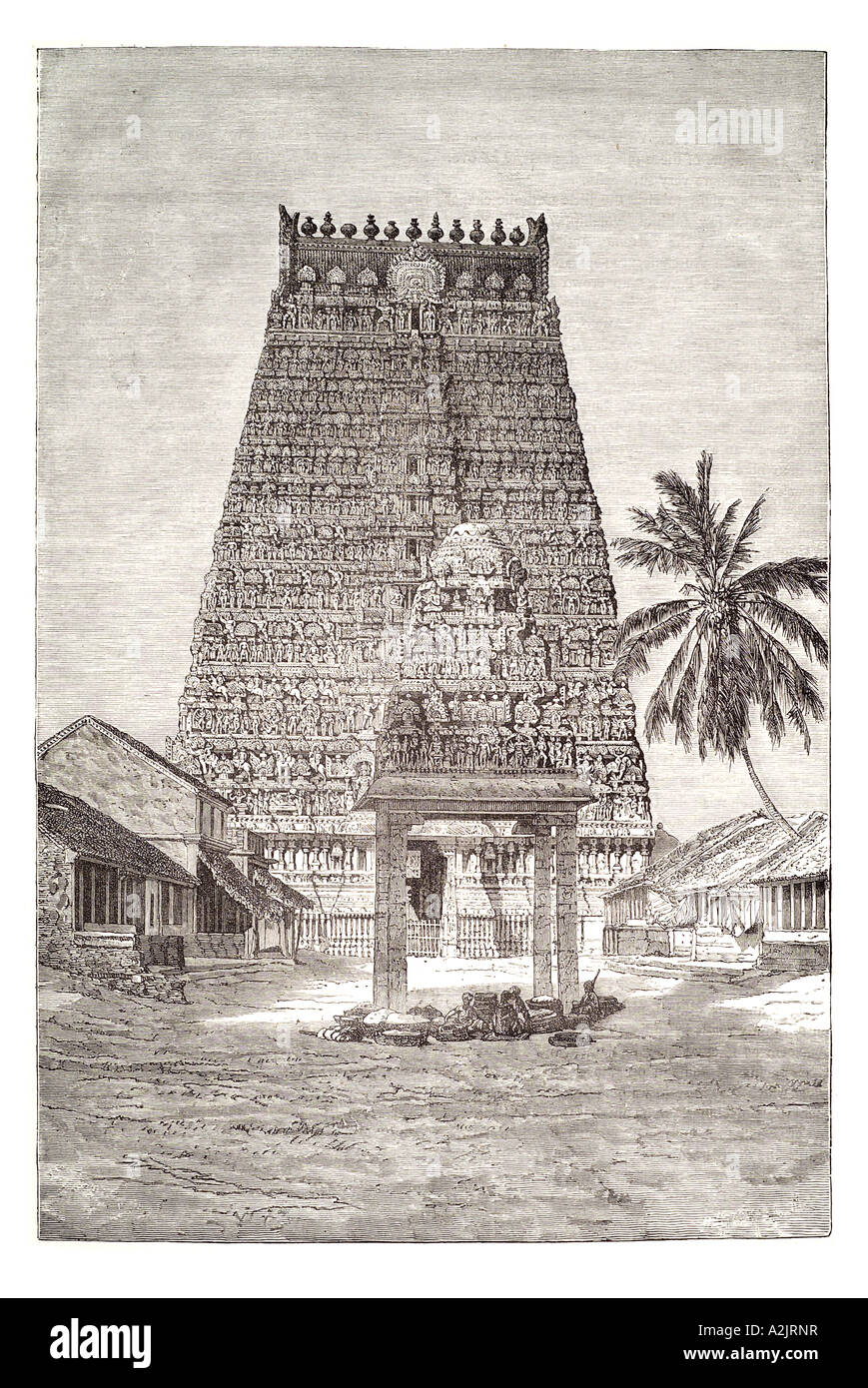 Kumbakonam temple tower Kumbeswaran south southern India asia Tamil Nadu sarangapani ornate stone hindu siva religion - Stock Image