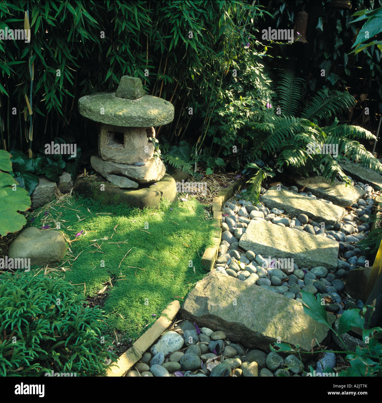 Paved And Pebble Path In Japanese Style Garden With Oriental Stone Lantern  Sculpture