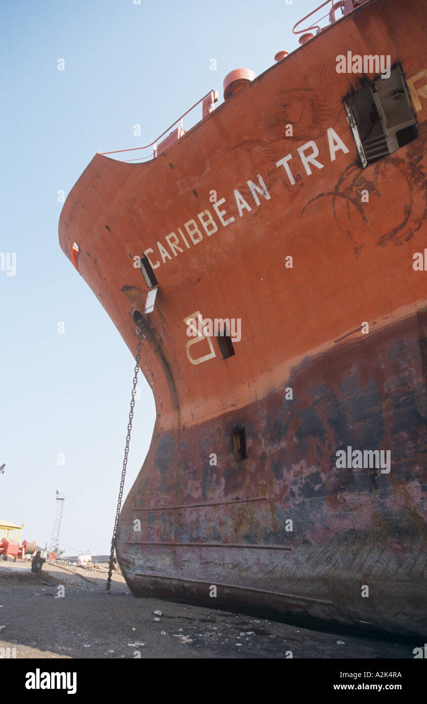 India, shipping is brought onto the beach in Alang to be