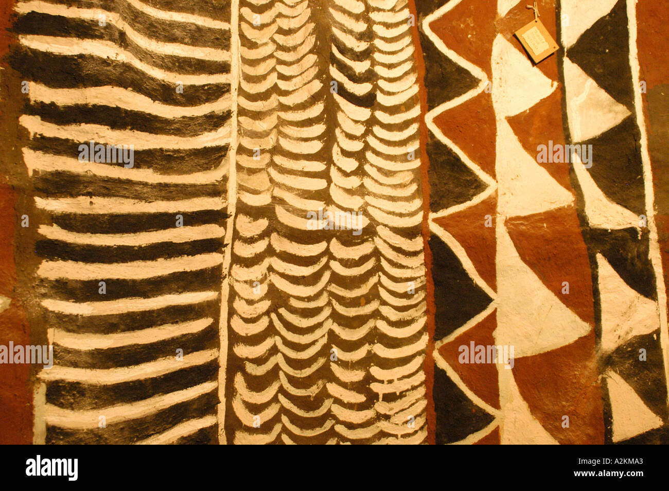 geometrical wallpaintings in a traditional hut of the Bemba peopleStock Photo