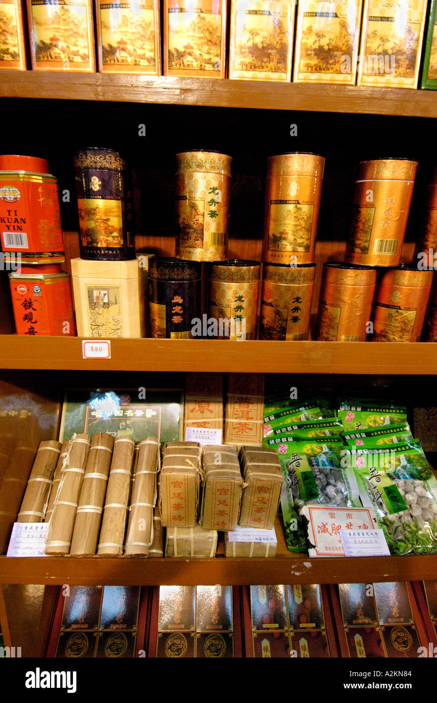 different chinese tea varieties at a tea shop - Stock Image