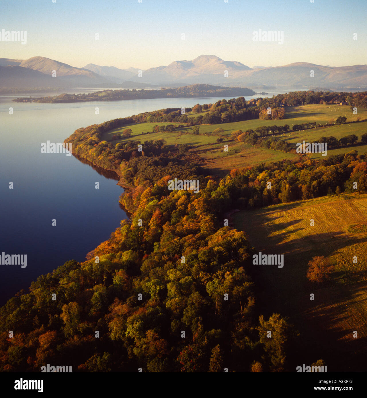 Loch Lomond in early morning Scotland aerial view Stock Photo