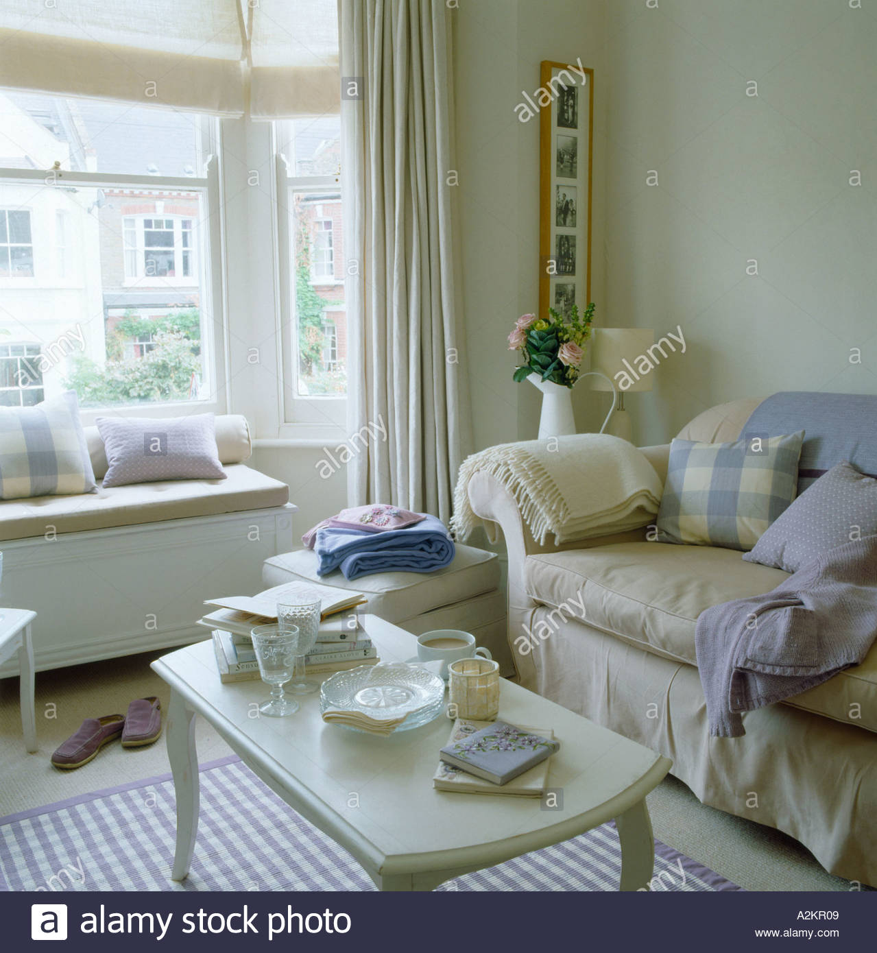 Living Room Decorated In Lilac Purple And Cream Colour