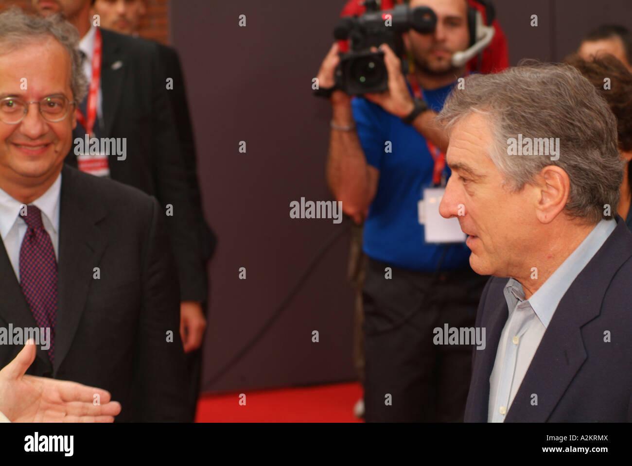 Walter Veltroni Mayor of Rome and Robert De Niro Rome International Film Festival Rome Lazio Italy - Stock Image