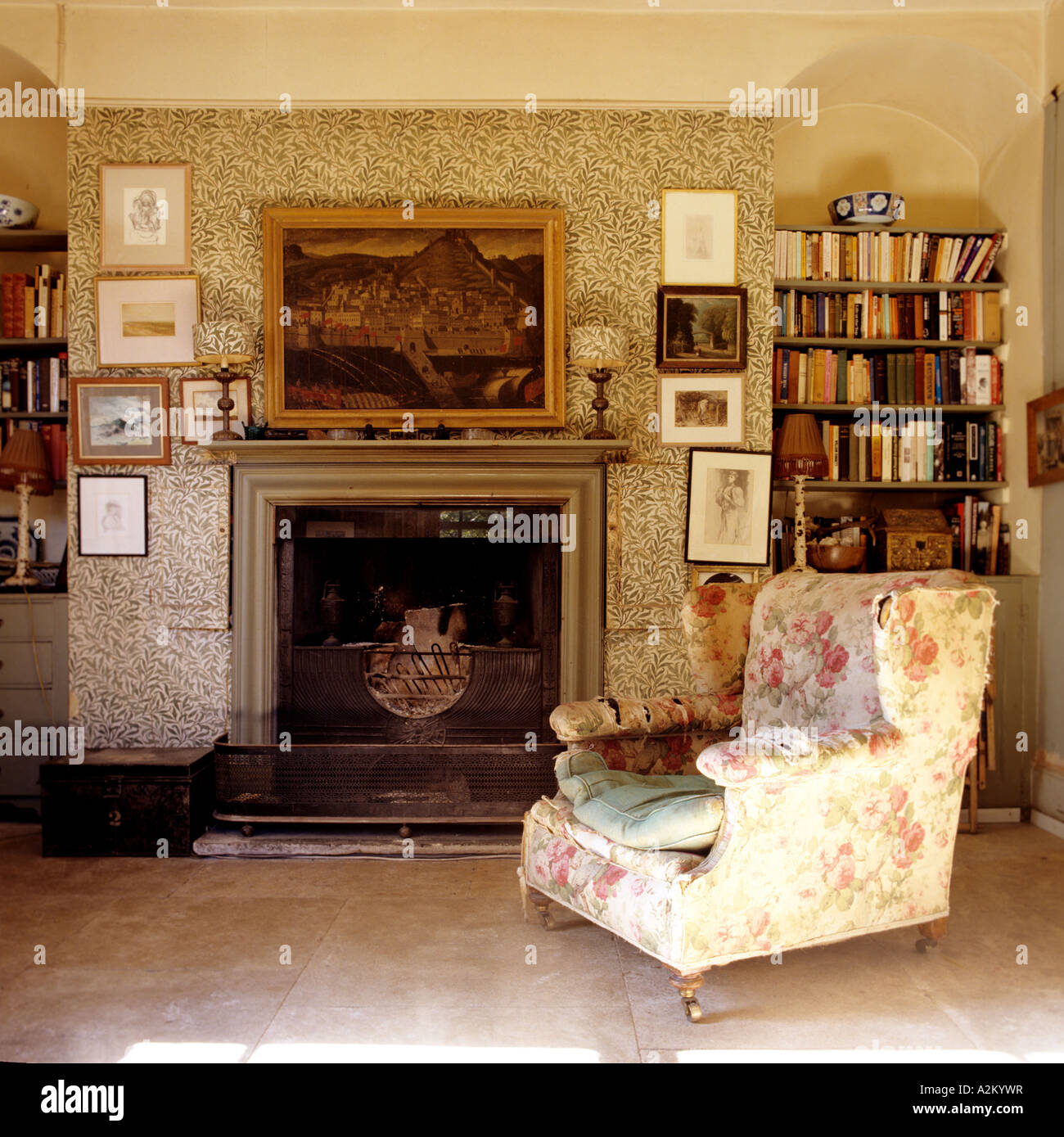 Floral Armchair In Living Room With William Morris Wallpaper