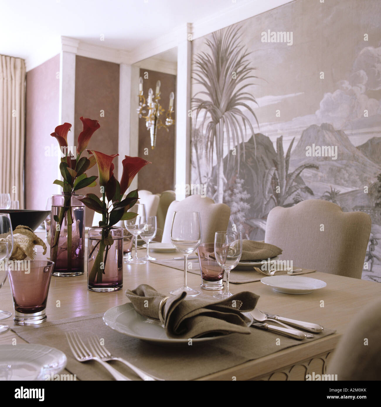 A London Dining Room With Set Table And Panoramic Wallpaper