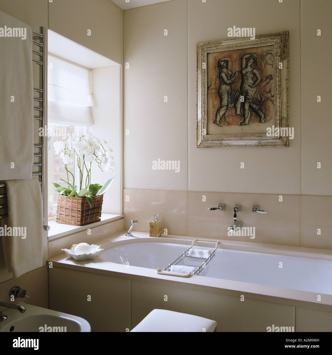 Bathroom With Large Tiles And Artwork In London Flat By Designer Emily  Todhunter