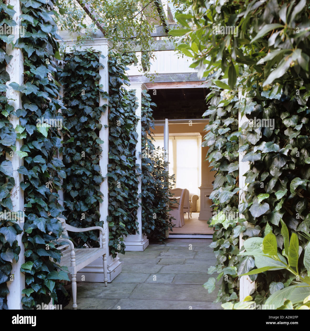 Paved courtyard with ivy covered trellis/ arbor Stock Photo   Alamy