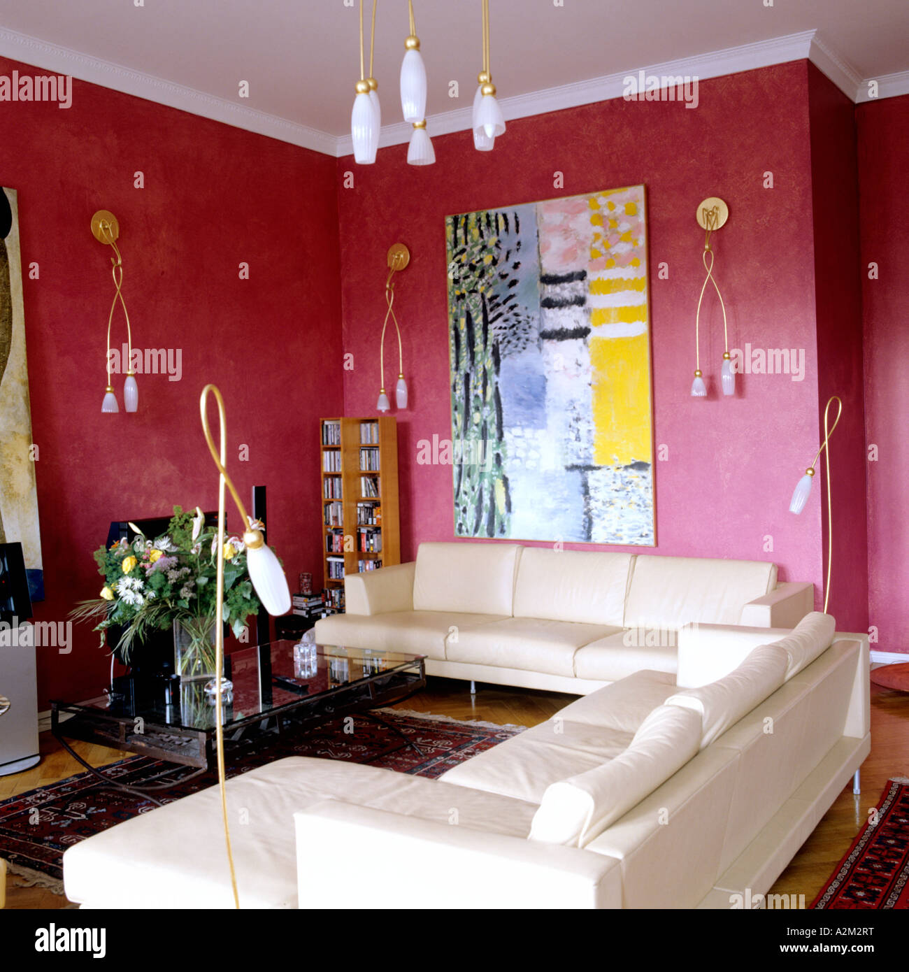 White Leather Sofas In Red Painted Apartment Of St Petersburg Art