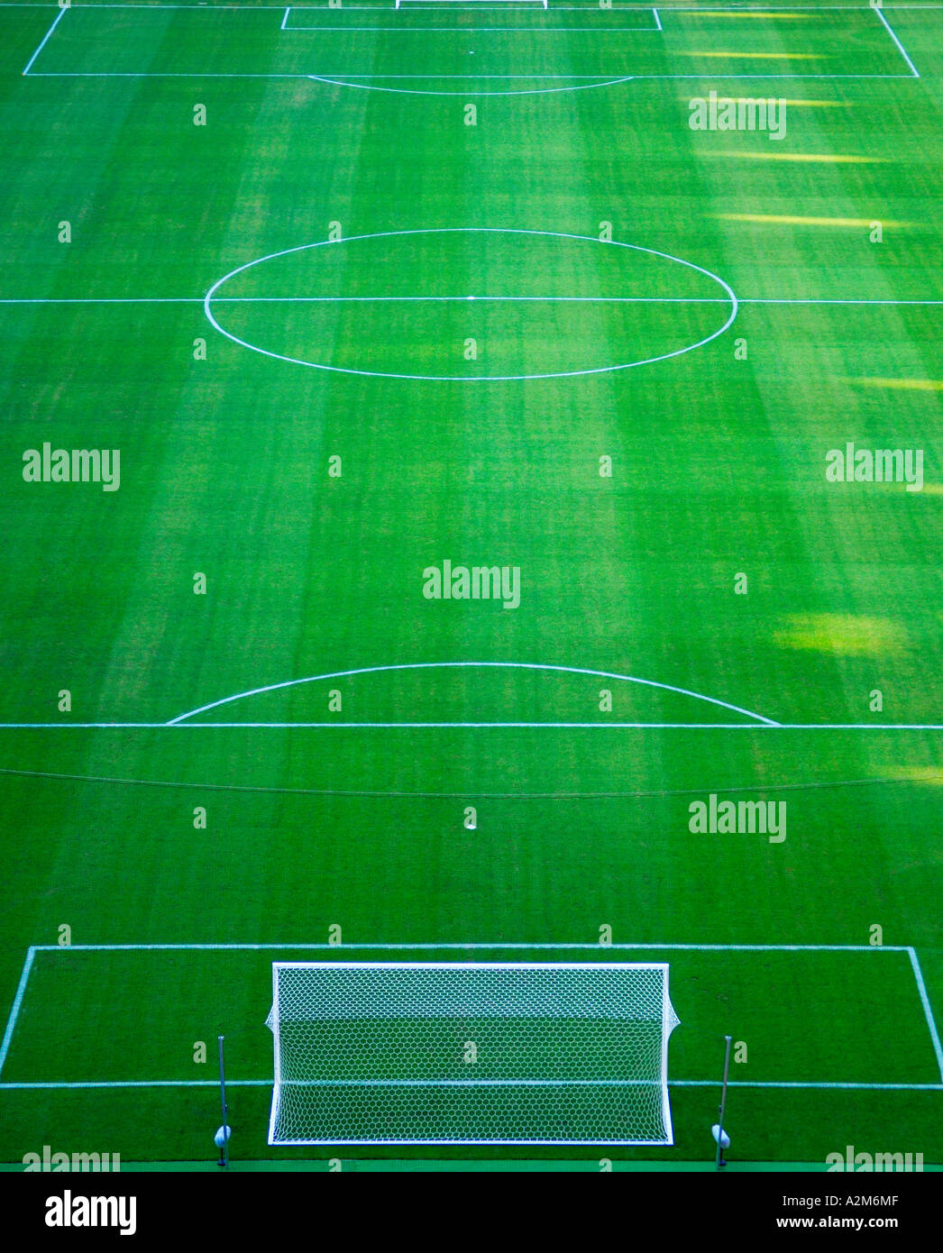 aerial view of football pitch in stadium - Stock Image