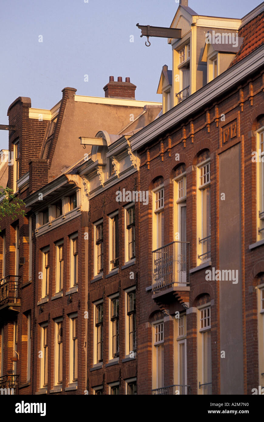 Europe, The Netherlands, Holland, Amsterdam, Prinsengracht Canal, morning light on buildings - Stock Image