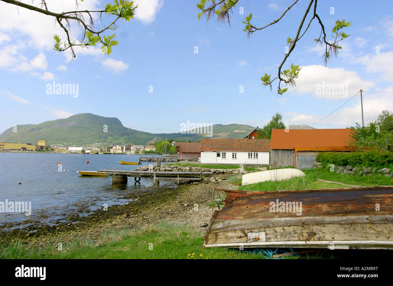 Boat housees in Ryfylke, Norway. - Stock Image