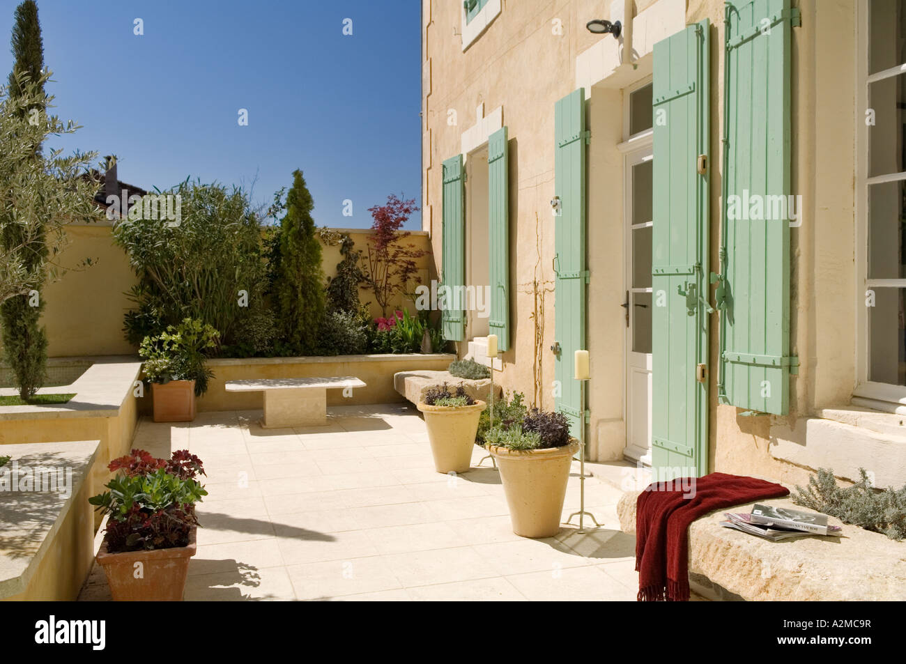 Garden Courtyard/ Patio Of Provençal Villa With Shutters, France