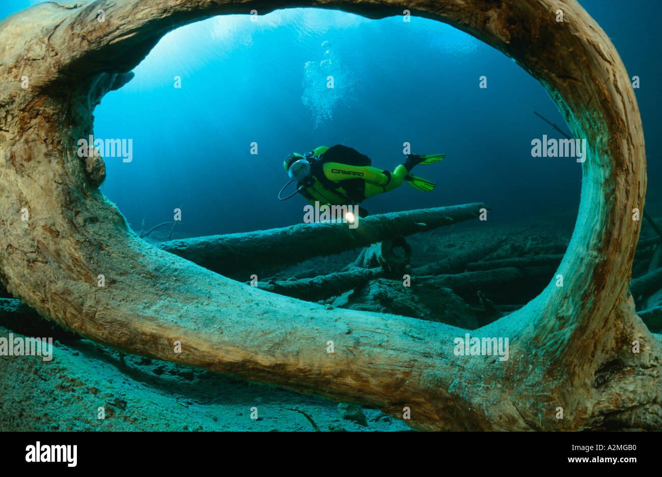 scuba diver in clear mountain lake, Samaranger See, Austria Stock Photo