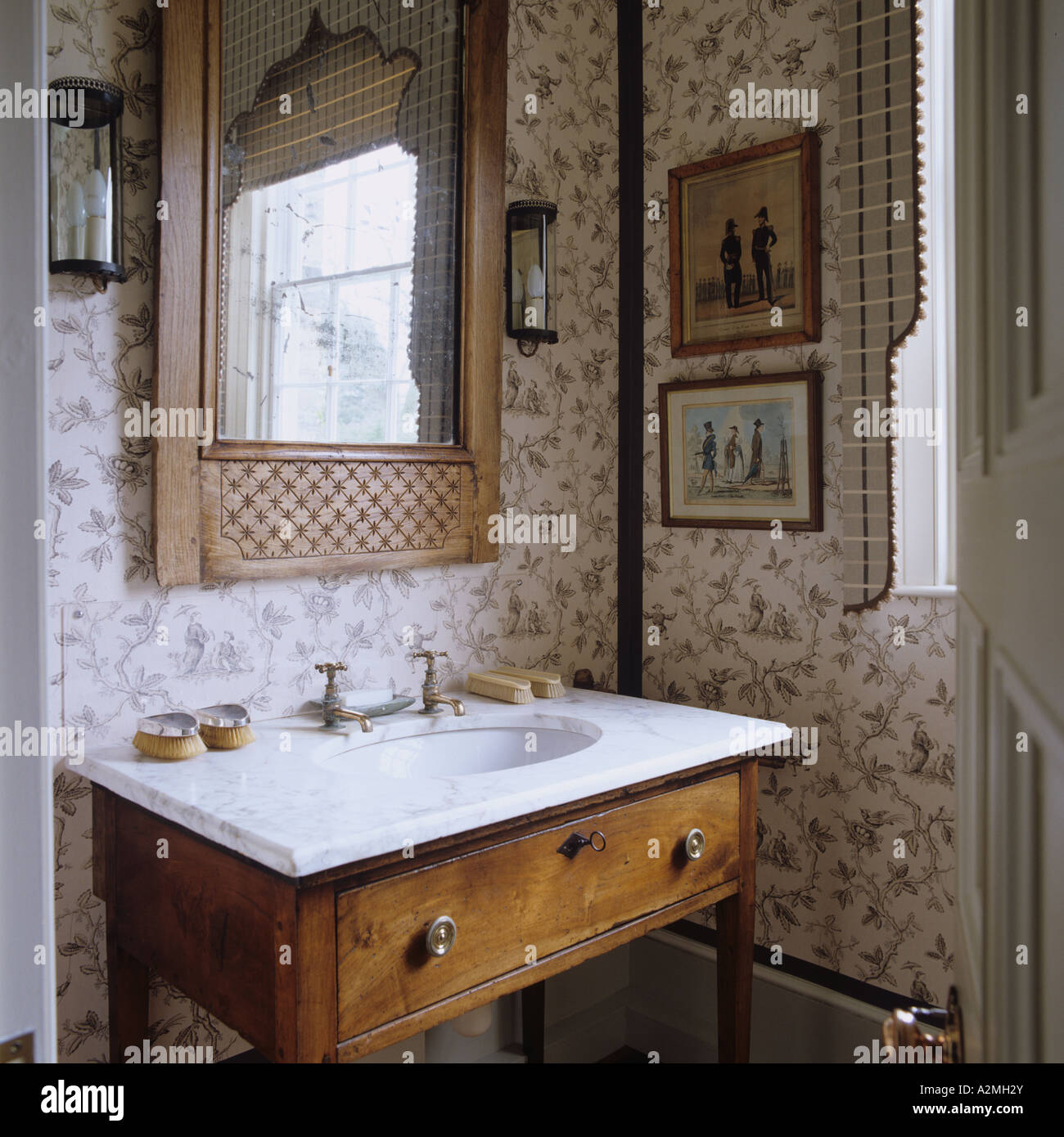 Marble Topped Washstand In Bathroom Of English Country House Stock