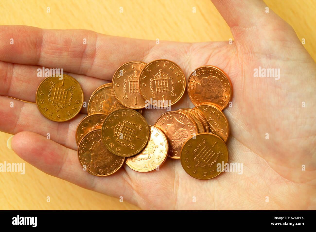 handful of pennies - Stock Image