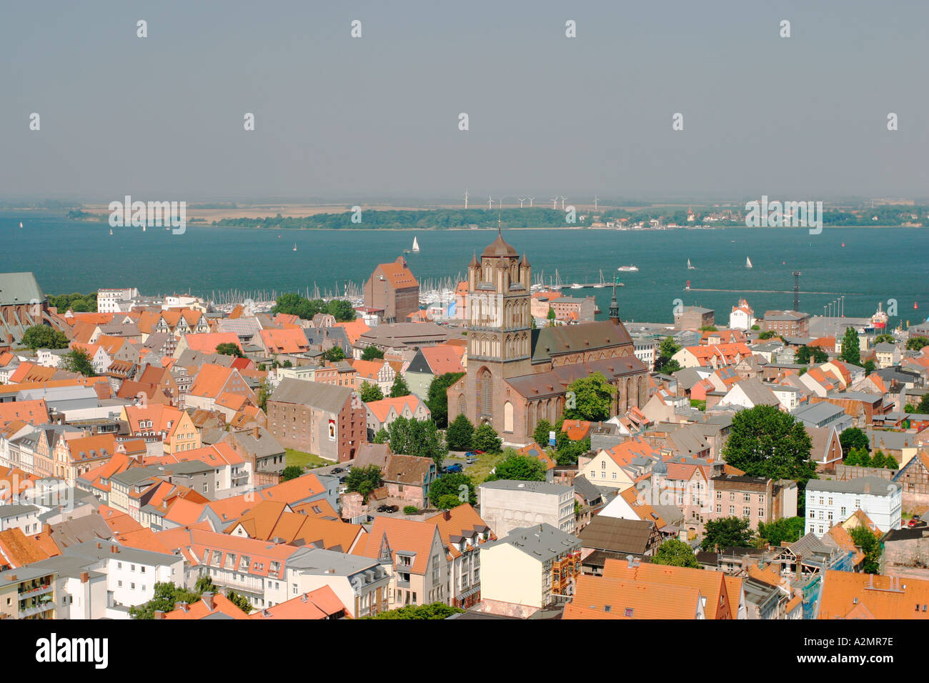 BRD Germany Mecklenburg Vorpommern City Stralsund Historical Houses in the Down Town View from Tower of Mariens Church to - Stock Image
