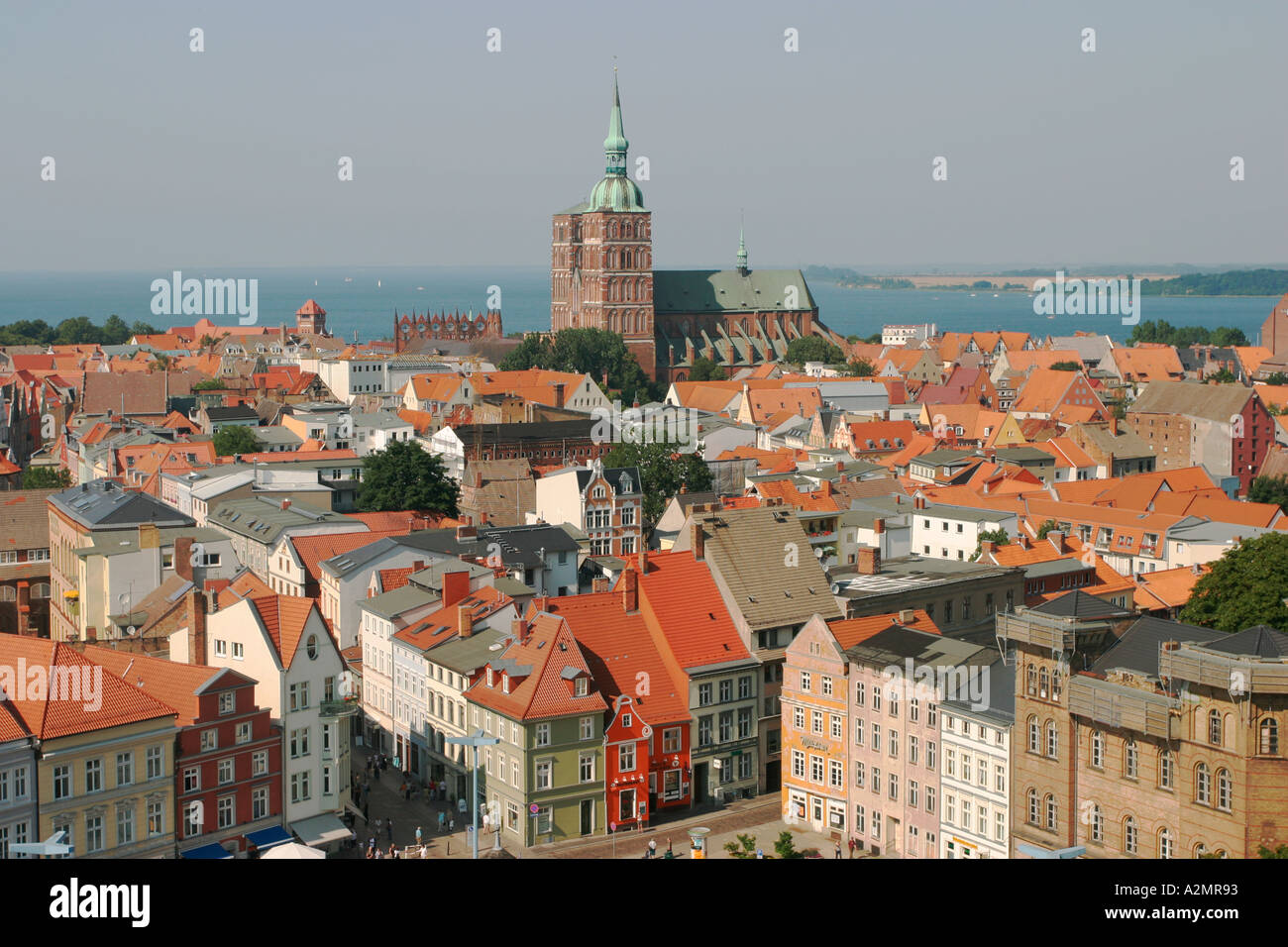 BRD Germany Mecklenburg Vorpommern City Stralsund View from Tower of Mariens Church to Baltic Sea and the Historic City Centre - Stock Image