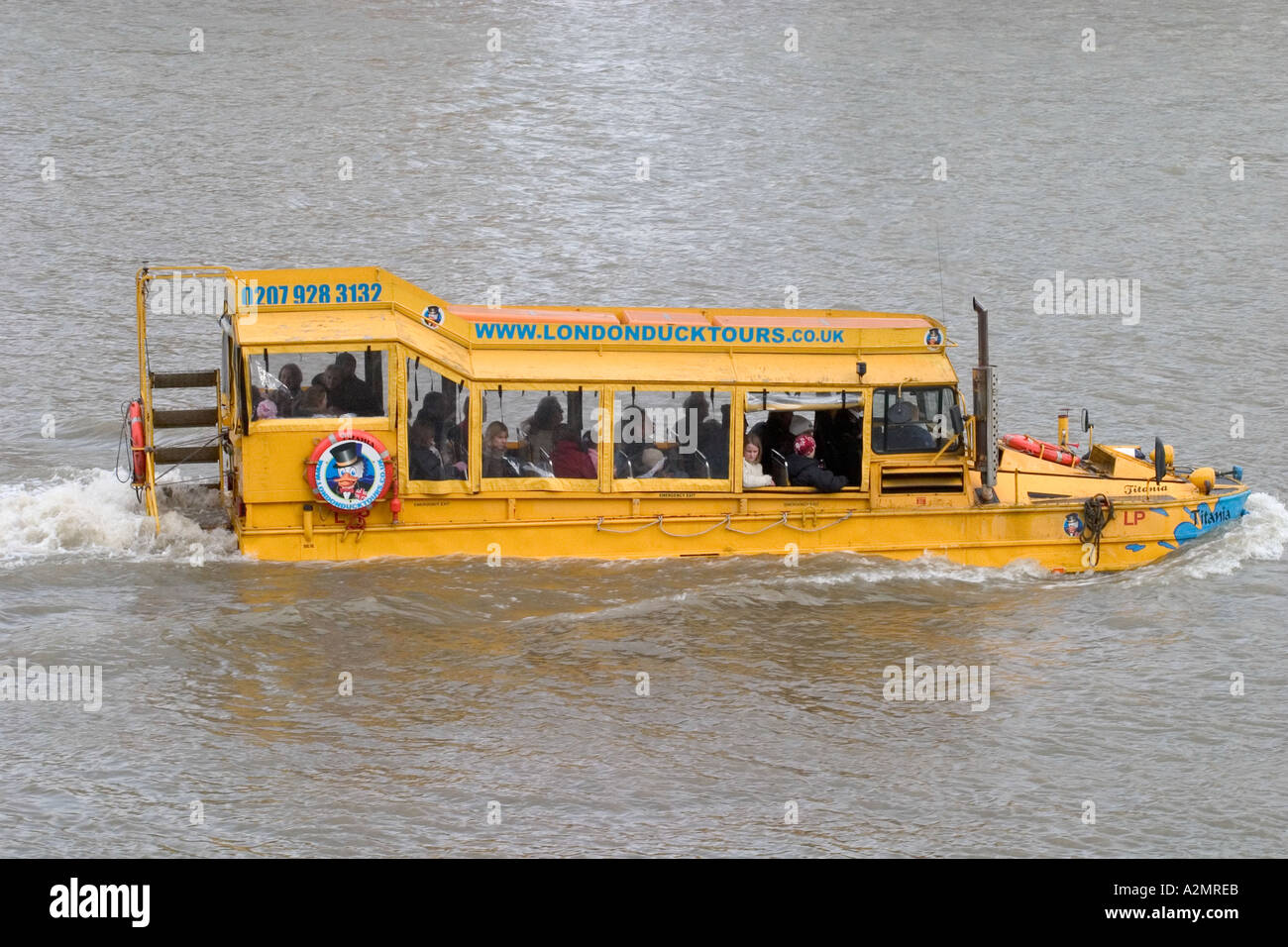 Amphibious craft river trip. The Thames, London, England - Stock Image