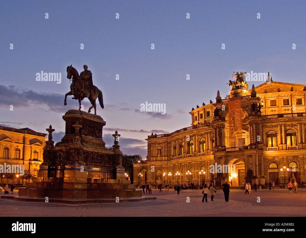 BRD Germany Sachsen Dresden Capitol at the River Elbe the Elb Florenc at the Theater Square the Semper Opera and the Horseman - Stock Image