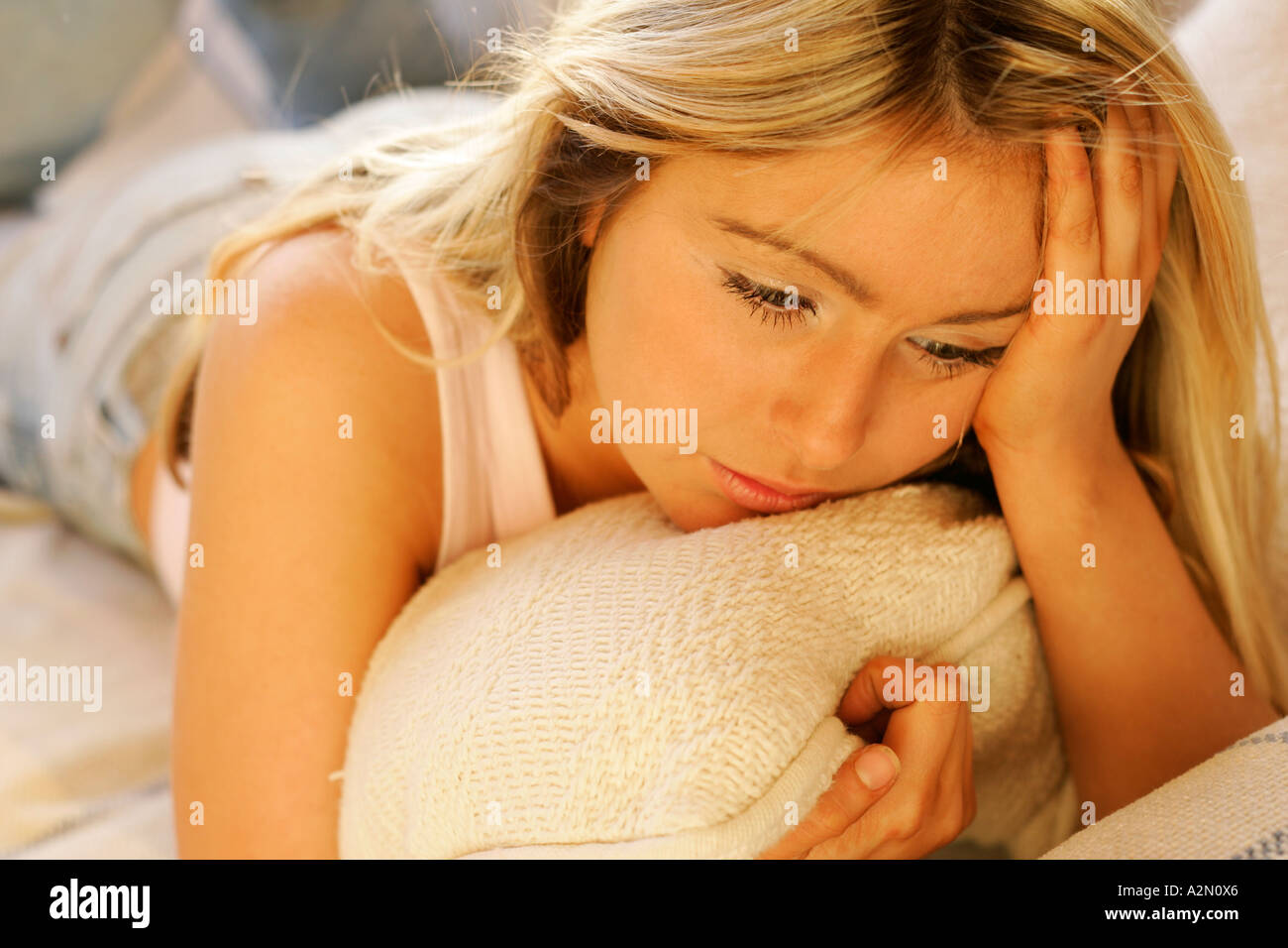 moody teenage girl - Stock Image