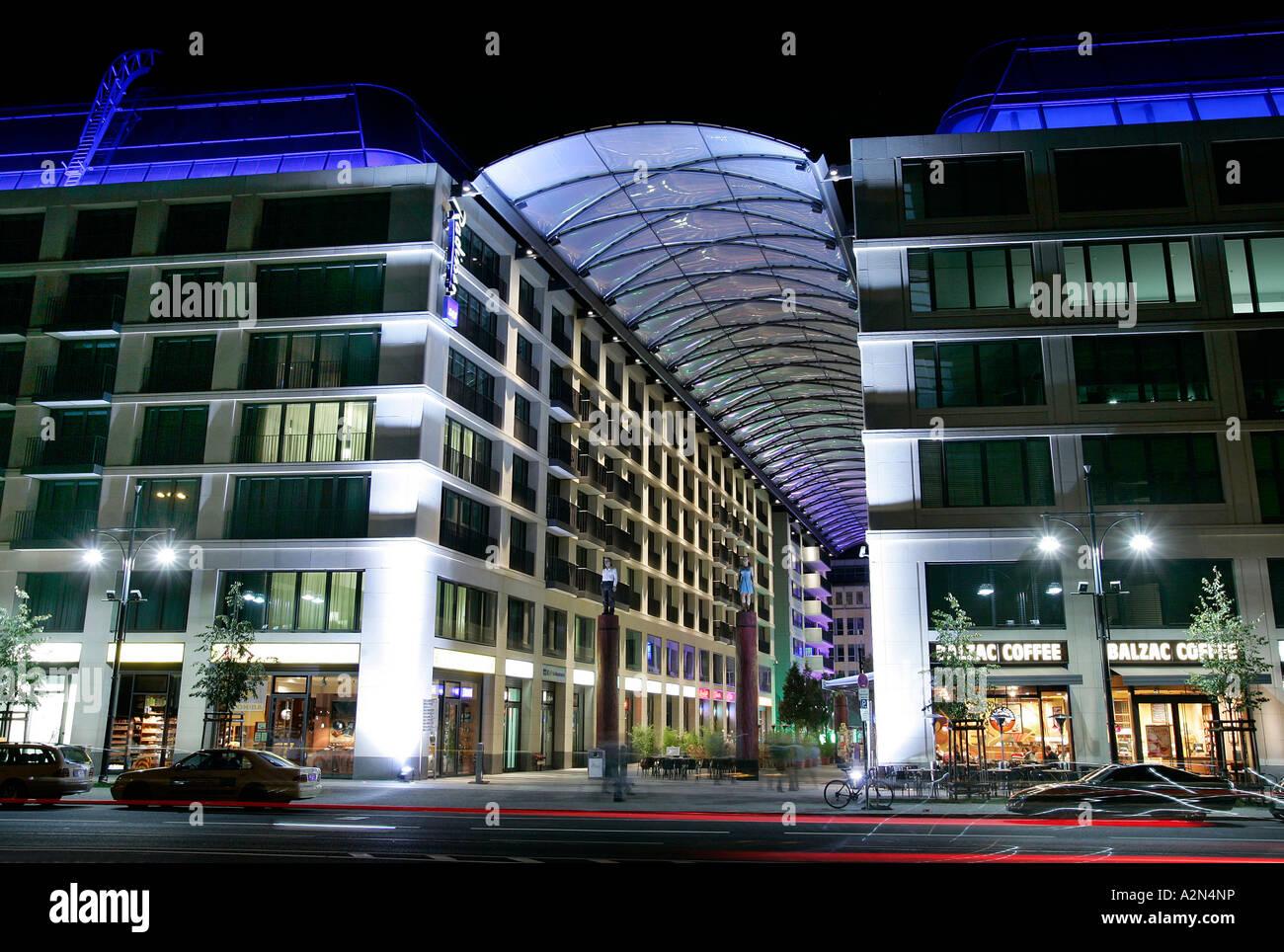 Hotel illuminated at night, Radisson Blu, Berlin, Germany - Stock Image