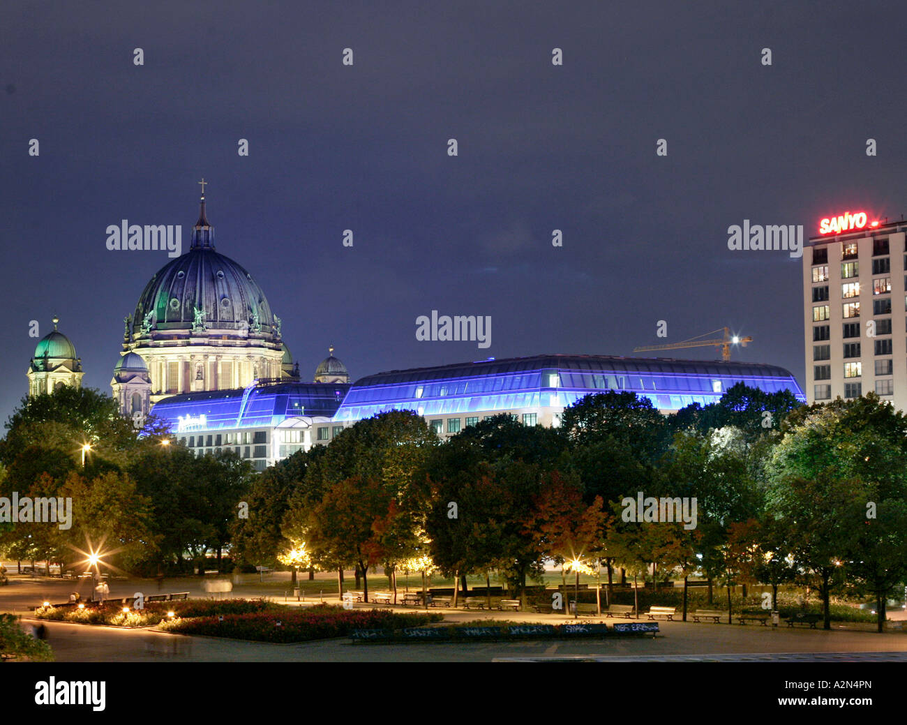 Hotel with cathedral illuminated at night, Berlin Cathedral, Radisson Blu, Berlin, Germany - Stock Image