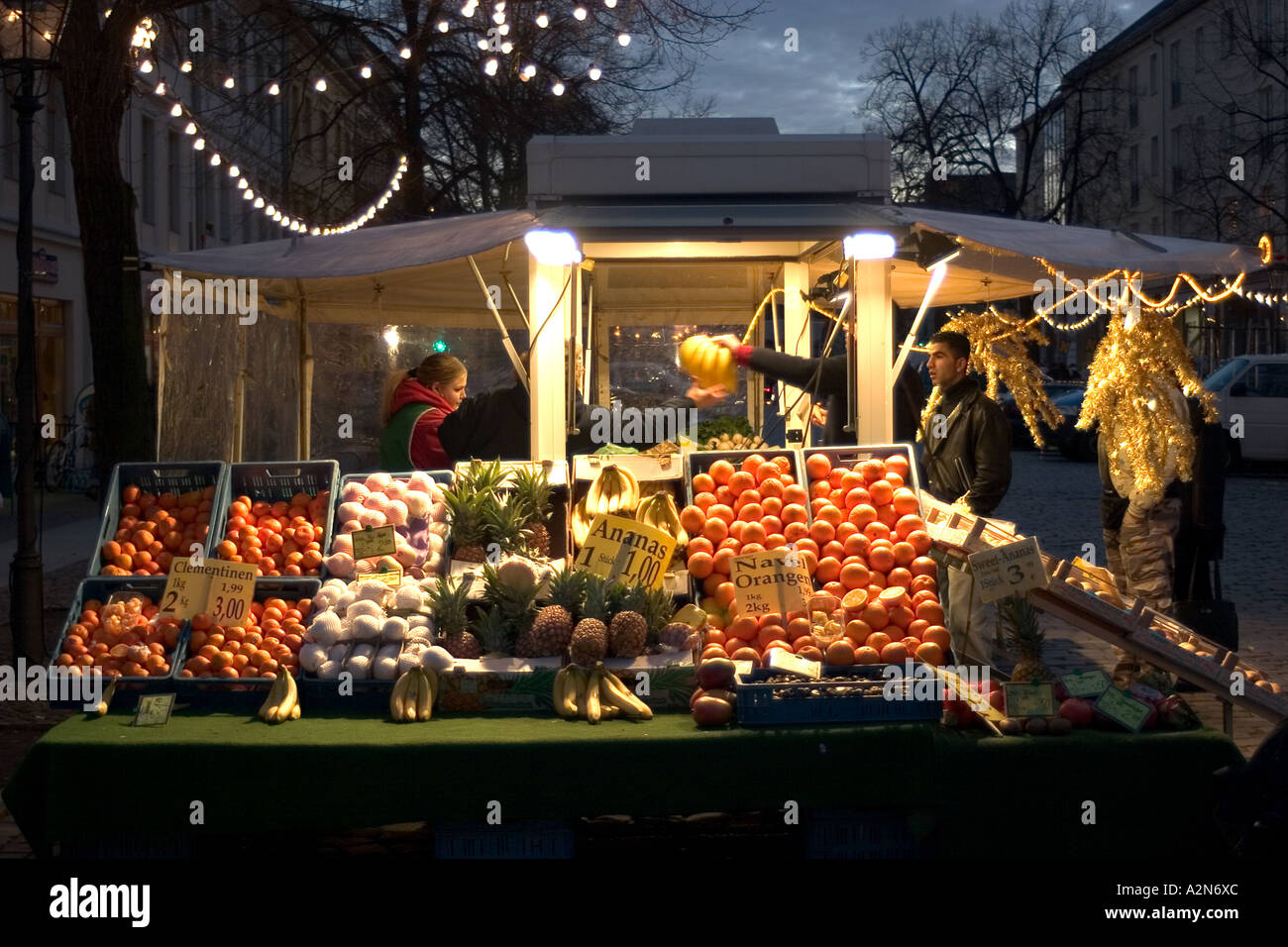 fruitstand on the Christmas market Stock Photo
