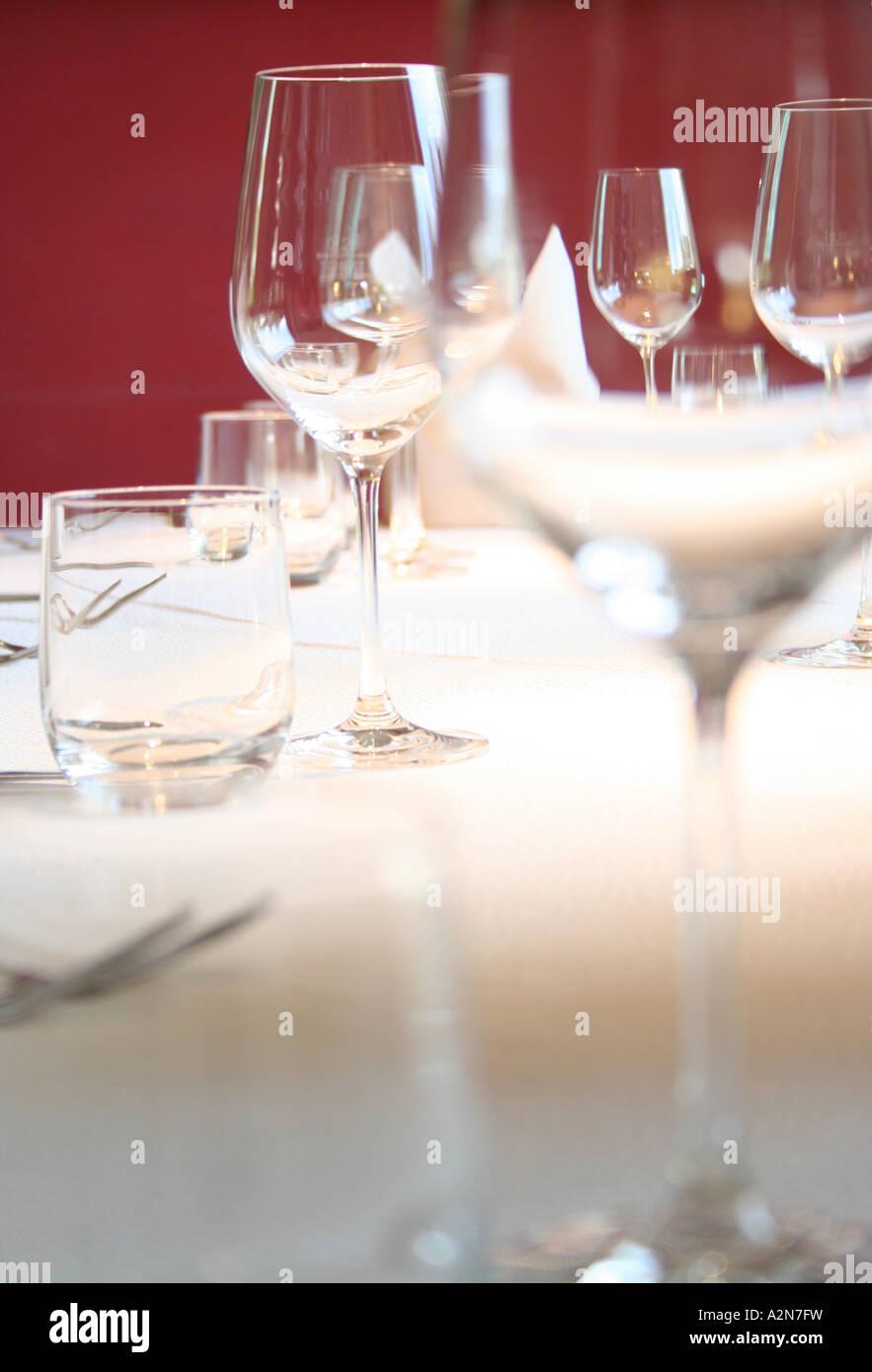 Stem glasses on table - Stock Image